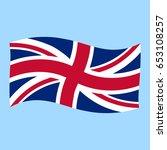 uk   union jack    flag flying... | Shutterstock .eps vector #653108257