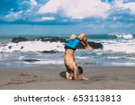 young man practice yoga on the... | Shutterstock . vector #653113813