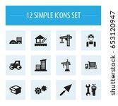 set of 12 editable building...   Shutterstock .eps vector #653120947