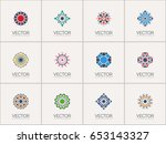 geometric logo template set.... | Shutterstock .eps vector #653143327