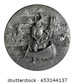 Small photo of Pewter bas-relief The Song of the Nibelungs isolated on a white background