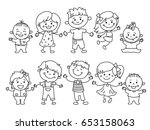 cheerful children standing... | Shutterstock .eps vector #653158063