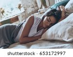 beauty sleeping.  attractive... | Shutterstock . vector #653172997