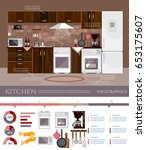 kitchen interior infographic... | Shutterstock .eps vector #653175607