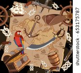 old pirate treasure map... | Shutterstock .eps vector #653175787