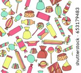 hand drawn candy seamless... | Shutterstock .eps vector #653179483