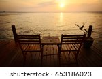 Two Empty Wood Chairs Set Up O...