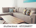 wooden empty table in front of... | Shutterstock . vector #653186857