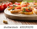 crostini with different... | Shutterstock . vector #653193193