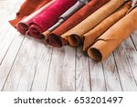 multicolored leather in rolls... | Shutterstock . vector #653201497