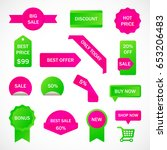 vector stickers  price tag ... | Shutterstock .eps vector #653206483