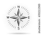 drawing black color compass... | Shutterstock . vector #653211583