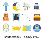 sleep time icons set in a flat... | Shutterstock .eps vector #653221963