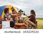 group of friends asian camp... | Shutterstock . vector #653229223
