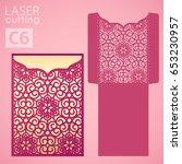 laser cut wedding invitation... | Shutterstock .eps vector #653230957