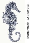sea horse tattoo and t shirt... | Shutterstock .eps vector #653235913