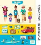 happy family in travel. journey ... | Shutterstock .eps vector #653239033