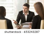 angry boss dissatisfied with... | Shutterstock . vector #653243287