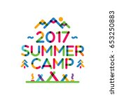 summer camp card with nature... | Shutterstock .eps vector #653250883