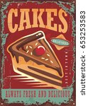 cakes and sweets vintage sign... | Shutterstock .eps vector #653253583