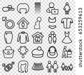 set of 25 outline icons such as ... | Shutterstock .eps vector #653259613