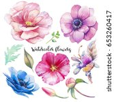 hand painted floral elements... | Shutterstock . vector #653260417