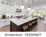 kitchen interior with island ... | Shutterstock . vector #653264827