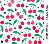 cherry pattern on white... | Shutterstock .eps vector #653275207