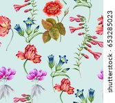 Stock photo background of flowers seamless pattern batanic watercolor illustration 653285023