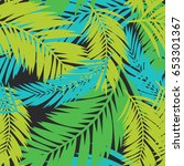 bright summer palm tree leaves... | Shutterstock .eps vector #653301367