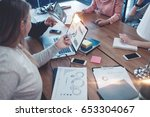 young business team working... | Shutterstock . vector #653304067