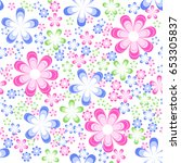 simple floral seamless pattern... | Shutterstock .eps vector #653305837