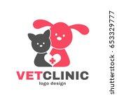vetclinic logo design template. ... | Shutterstock .eps vector #653329777