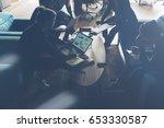 dark silhouette of startup team.... | Shutterstock . vector #653330587