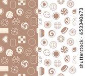 seamless pattern of cookies ... | Shutterstock .eps vector #653340673