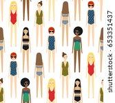 cute girls in bikini seamless... | Shutterstock .eps vector #653351437