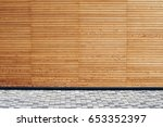 yellow wooden wall with grey... | Shutterstock . vector #653352397