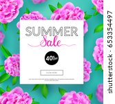 summer sale banner with... | Shutterstock .eps vector #653354497