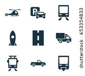 transportation icons set.... | Shutterstock .eps vector #653354833
