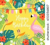 happy birthday greeting card ... | Shutterstock .eps vector #653356807