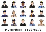 set of colorful police flat... | Shutterstock .eps vector #653375173