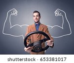 young man holding black... | Shutterstock . vector #653381017