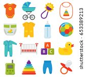 baby icons. vector. baby shower ... | Shutterstock .eps vector #653389213