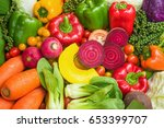 various fresh fruits and... | Shutterstock . vector #653399707