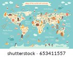 animals world map for kid.... | Shutterstock . vector #653411557