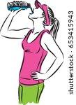 fitness woman drinking vector... | Shutterstock .eps vector #653415943
