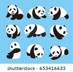 cute panda baby set  flat... | Shutterstock .eps vector #653416633