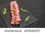 new york strip porterhouse... | Shutterstock . vector #653420557
