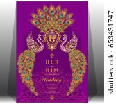 wedding invitation card... | Shutterstock .eps vector #653431747