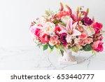 bouquet flowers in vase... | Shutterstock . vector #653440777